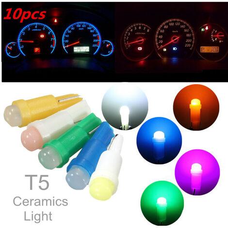 10X T5 1 COB LED haute puissance voiture tableau de bord plaque d'immatriculation vitesse cale ampoules voiture signal lampe Instrument lumières vert bleu