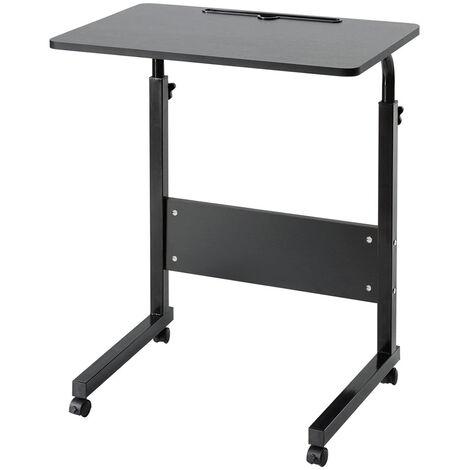 Bureau de table d'ordinateur portable en bois avec roues de levage mobile réglable coloré (noir, peinture noyer noir 60x40cm)