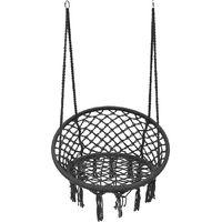 Chaise Hamac Suspendue En Coton Luxe Cushion Outdoor Camping Gris