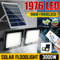 3000W 1976LED projecteur de réverbère à énergie solaire projecteur extérieur de cour de mur de jardin avec télécommande