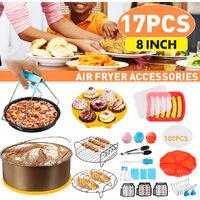 Accessoires de friteuse à air de 8 pouces Rack Cake Pizza Oven Barbecue Plateau de poêle (or)