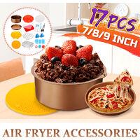 17PCS 9 pouces ensemble d'accessoires de friteuse à air plat de cuisson antiadhésif en cage à frire (or)