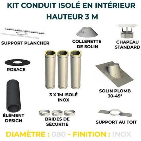 KIT CONDUIT ISOLE EN INTERIEUR - 3 MÈTRES   80 - Inox