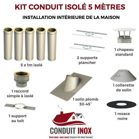 KIT CONDUIT ISOLE EN INTERIEUR - 5 MÈTRES | 80 - Inox