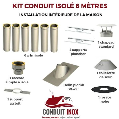 KIT CONDUIT ISOLE EN INTERIEUR - 6 MÈTRES | 100 - Inox