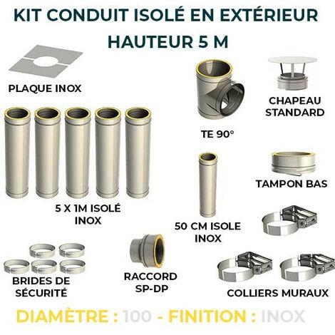 KIT CONDUIT ISOLE EN EXTERIEUR - 5 MÈTRES   100 - Inox