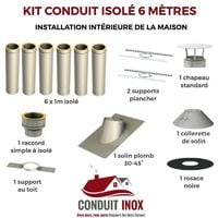 KIT CONDUIT ISOLE EN INTERIEUR - 6 MÈTRES | 80 - Inox