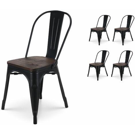 Kosmi - Lot de 4 chaises Noires et Bois Style Industriel FACTORY en métal Noir Mat et Assise en Bois Foncé