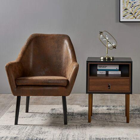 Wooden Side Table Black Matte Modern Design Versanora Bedside Table VNF-00064