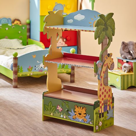 Fantasy Fields Large Sunny Safari Kids Bookshelf Bookcase Toy Organiser Storage With Drawers W-8268A