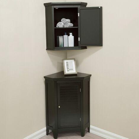 Elegant Home Fashions Bathroom Corner Cabinet Unit Set 3 pieces Brown ELG-CSETB