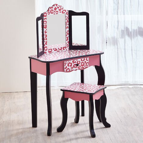 Fantasy Fields By Teamson Kids Vanity Set Wooden Dressing Table With Mirror & Stool Pink TD-11670A