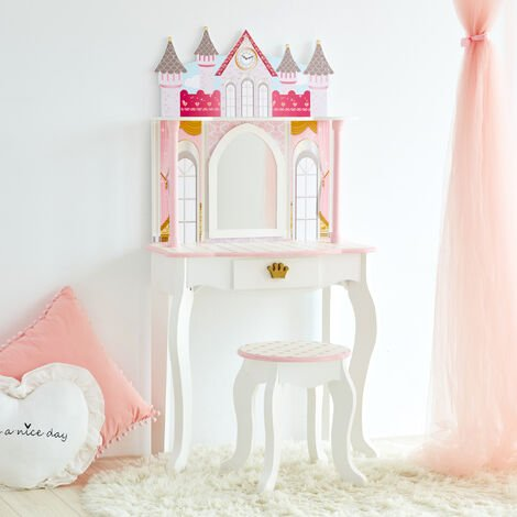 Fantasy Fields By Teamson Kids Vanity Set Castle Dressing Table With Mirror & Stool White TD-12951A