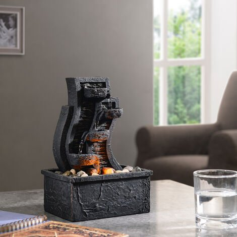 Peaktop Water Table Top Fountain Indoor Grey Ornament With Lights PT-TF0003-UK