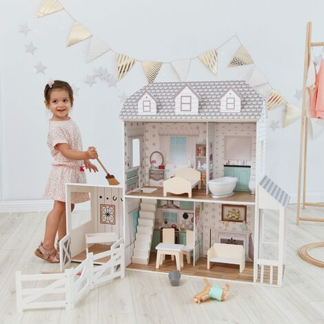 Oliva's Little World Large Dreamland Farmhouse Dolls House Wooden Doll House 2.9ft With 14 Doll Accessories TD-12901A