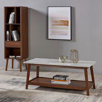 Wooden Coffee Table Faux Marble Finish Modern Design Versanora TV Unit VNF-00061