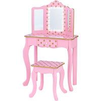 Fantasy Fields By Teamson Kids Play Dressing Table/Vanity Set LED Light Pink/Rose Gold TD-11670LL