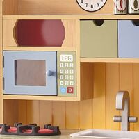 Teamson Kids Burlywood Wooden Kitchen For Kids Toy Kitchen With 5 Role Play Accessories TD-11708A