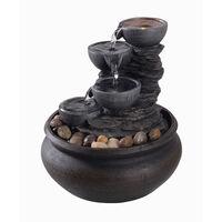 Peaktop Water Table Top Fountain Indoor Grey Ornament With Lights PT-TF0001-UK