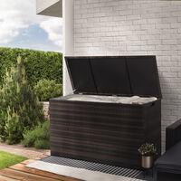 Peaktop Rattan Outdoor Garden Patio Furniture 672 Litre XL Storage Box Brown Conservatory Chest PT-OF0010