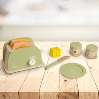 Teamson Kids Wooden Toaster Toy Play Kitchen Accessories 11 pcs Green TK-W00006