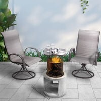 Peaktop Firepit Wood Burning Fire Pit Concrete Style with Steel Poker PT-FW0003