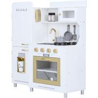 Teamson Kids Mayfair Kids Wooden Play Kitchen & 11 Accessories White TD-13302D