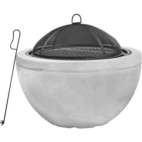 Braséro chauffage d'extérieur en béton foyer à bois 76cm avec grille à charbon BBQ couvercle de protection tisonnier Peaktop HR30180AA