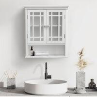 Armoire de toilette murale salle De Bain en Bois 2 Portes Blanc Neal Elegant Home Fashions 7473