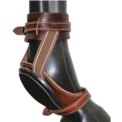 Chaussures de ski en cuir avec renfort en caoutchouc et attaches élastiques avec boucles