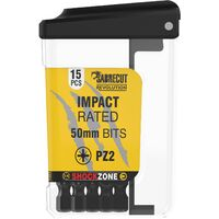 15pcs SabreCut 50mm PZ2 Impact Bits + Box SCRPZ25015B