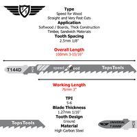15pcs TopsTools T144D Jigsaw Blades - JSTT144D_3