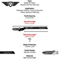15pcs TopsTools T119BO Jigsaw Blades - JSTT119BO_3