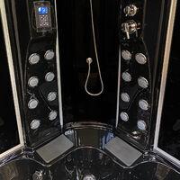 Bañera hidromasaje Bañera de esquina Ducha hidromasaje Negro 150 x 150cm BLACK MONTECARLO