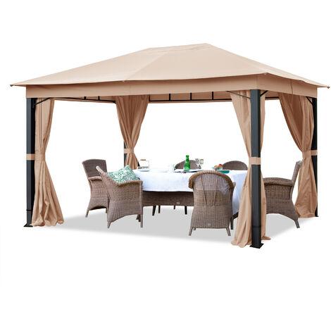 Pavillon de Jardin 3x4 m ALU Premium env. 220g/m² bâche imperméable tonnelle 4 côtés Tente de Jardin Taupe Clair env. 9x9 cm Profil