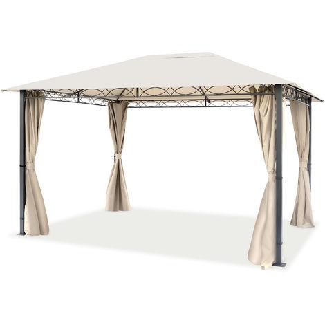 Pavillon de Jardin 3x4 m tonnelle Premium imperméable Tente de Jardin 4 côtés bâche de Toit env. 220g/m² Tente de réception Beige