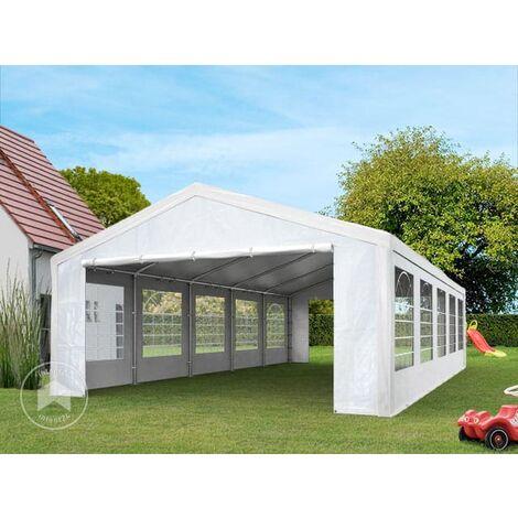 Tente de réception 4x8 m pavillon Blanc bâche PE épaisse d'env.180g/m² imperméable Tente de Jardin