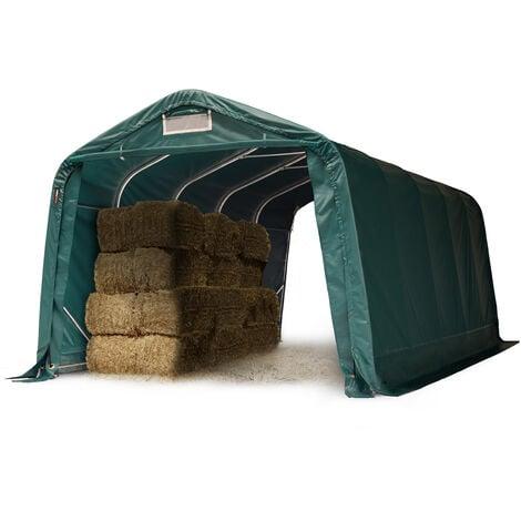 Tente de pâturage robuste 3,3x6 m étanche bâche PVC env. 550g/m² abri pour chevaux moutons écurie ouverte, vert