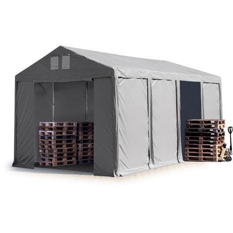 Tente de Stockage 4x8 m entrepôt Hall de Stockage bâche PVC Gris env. 550g/m² 100% imperméable abri Porte zippée