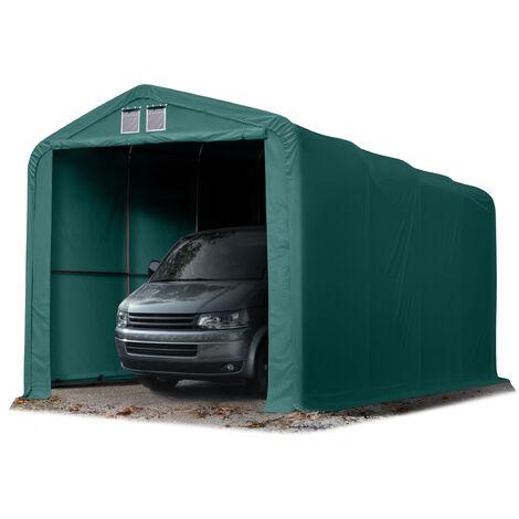 4x8m tente-garage de stockage, porte 3,5x3,5m, toile PVC d'env. 720 g/m², anti-feu