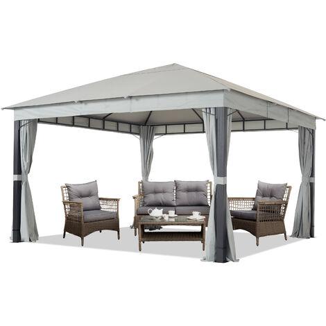 Pavillon de Jardin 4x4 m ALU Premium env. 220 g/m² bâche imperméable pavillon 4 côtés Tente de Jardin Gris