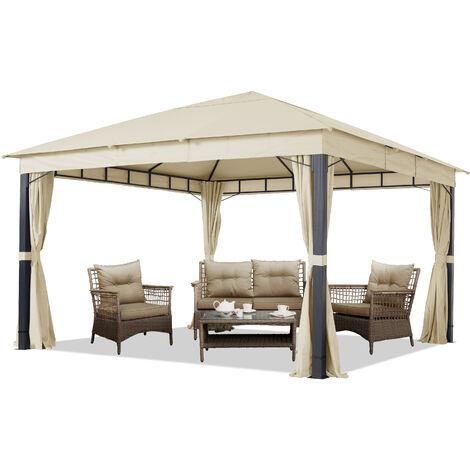 Pavillon de Jardin 4x4 m ALU Premium env. 220 g/m² bâche imperméable pavillon 4 côtés Tente de Jardin Champagne