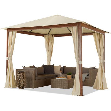 Tonnelle de Jardin 3x3 m Design en Optique Bois Toit en Polyester d'env. 220g/m², 4 parois latérales Champagne