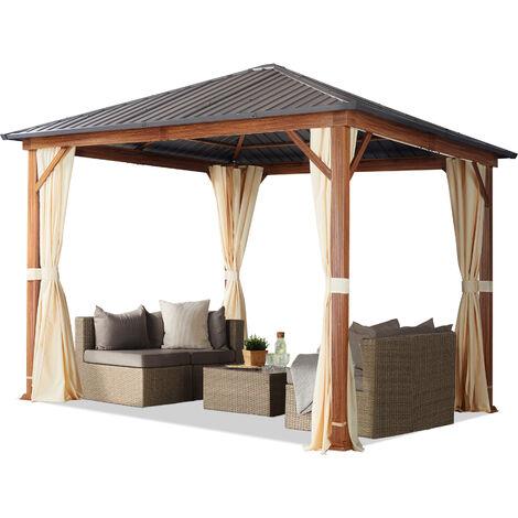 Tonnelle de jardin 3x3 m design en optique bois toit en acier 4 parois latérales, champagne