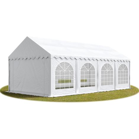 Tente Barnum de Réception 4x8 m PREMIUM Bâches amovibles PVC env. 500g/m² blanc + Cadre de Sol Jardin