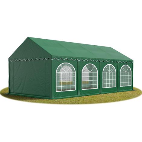 Tente Barnum de Réception 4x8 m PREMIUM Bâches amovibles PVC env. 500g/m² vert fonce + Cadre de Sol Jardin