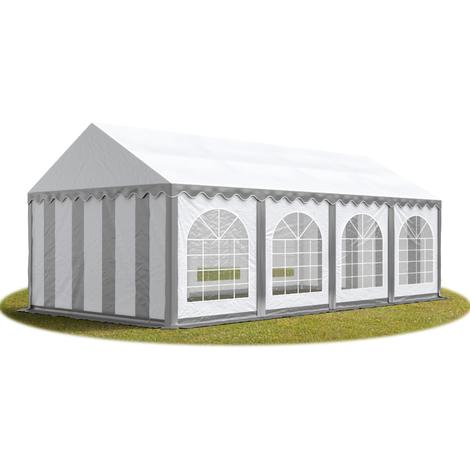 Tente Barnum de Réception 4x8 m PREMIUM Bâches amovibles PVC env. 500g/m² gris-blanc + Cadre de Sol Jardin