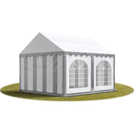 Tente Barnum de Réception 4x4 m PREMIUM Bâches amovibles PVC env. 500g/m² gris-blanc + Cadre de Sol Jardin