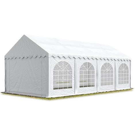 Tente Barnum de Réception 4x8 m ignifugee PREMIUM Bâches amovibles PVC env. 500g/m² blanc Cadre de Sol Jardin