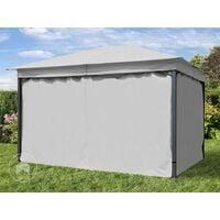 Tonnelle de Jardin 3x4 m env. env. 180g/m² pavillon avec bâche de Toit imperméable Tente de Jardin avec 4 bâches de côté Gris Clair Tente de réception env. 6x6 cm Profil